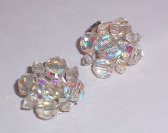Vintage Earrings with Aurora Borealis Beads  - Clip Ons