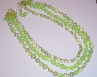 Vintage Three Strand Light Green Necklace with Flower Clasp