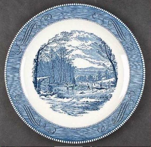 Vintage currier and ives 12 3 8 quot quot getting ice quot chop plate platter