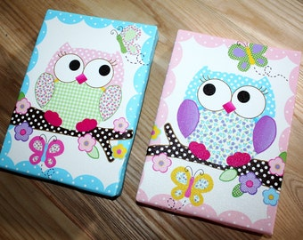 Set of 2 Mini Pink and Purple Owl Girls Stretched Canvases Baby Nursery CANVAS Bedroom Wall Art 2CS021