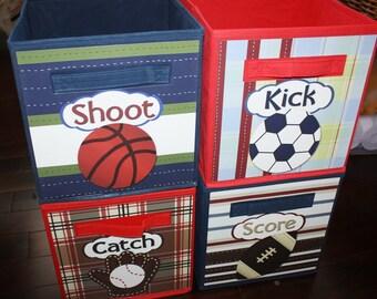 Perfect 4 Patterned Sports Basketball Soccer Football Baseball Fabric Bins Boyu0027s  Bedroom Baby Nursery Organizer For Toys