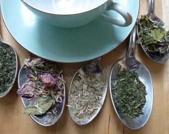 Women's Blend Tea/ Nursing Tea / ORGANIC + Gluten Free Loose Leaf Tea (Red Raspberry, Nettle, Blessed Thistle, Red Clover, Peppermint)