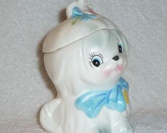 Vintage Lefton Toodles White Maltese Dog Sugar Jar Pink Flower Blue Bow Puppy Bichon Frise Canister