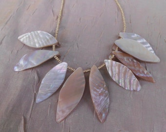 tribal mother of pearl shell necklace