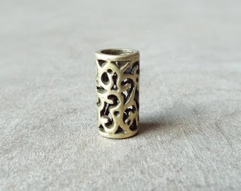 Filigree Cut-out Antiqued Brass Dread Ring Dreadlock Bead Accessory Extension Accessories Dread Boho Bohemian Hippie Bronze