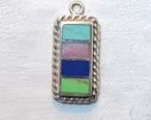 One Gemstone and Sterling Silver Pendant 25mm