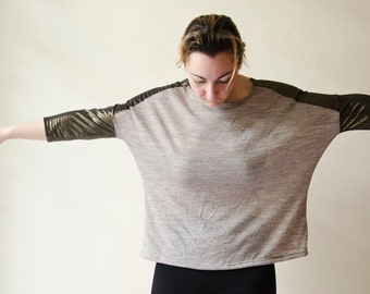 Boxy Blouse Beige and Dark Gold, Oversized Jersey Tunic Top with Metallic Details