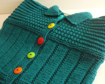 Knit Textured Cardigan/Girls/Acrylic/Teal                    MADE TO ORDER     Size 8 to 10 years