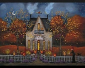 "Halloween Night, Company's Coming!  a Larger 5"" x 7"" version. A Halloween Autumn Tearoom Print by Deborah Gregg"