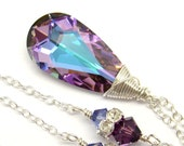 Amethyst Violet Purple Necklace Vitrail Light Swarovski Crystal Sterling Silver or 22K Gold Lavender Pendant Bridesmaids Bridal Jewelry