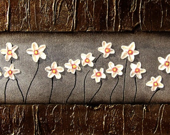 """Large Floral Contemporary Modern Painting Abstract Painting Flower Daisies Painting 36x12x1.5"""""""