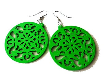 Bright  Green Circle Wooden Earrings, statement, light weight