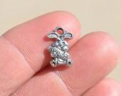 BULK 50  Silver Bunny Rabbit with a Carrot Charms SC1724