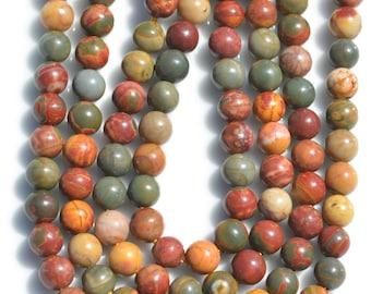 30 Picasso Jasper  Round 6mm Beads  BD767