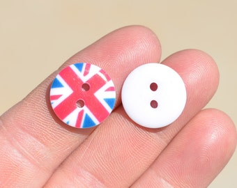 20 Red White and Blue Royal Union  Flag Plastic  Buttons  BN110