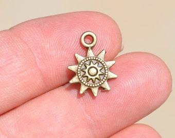BULK 50  Bronze Sun Charms BC3270