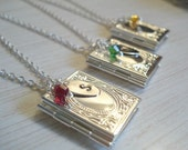 Silver Book LOCKET Personalized Locket Storybook Necklace Gift Birthstone Necklace Hand Stamped Initial Disc Personalized Jewelry