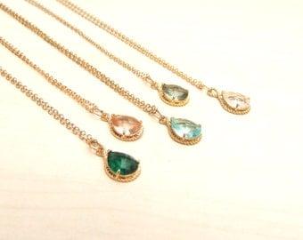 20% OFF,Stone Necklace, Zircon Drop Neklace, Delicate Gold Necklace, Bridal Pendant Necklace,Crystal Necklace, Bridesmaid gift. Choose Color