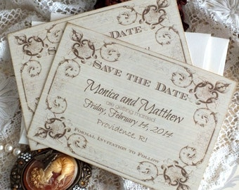 Vintage Romantic Wedding Save the Date Cards Handmade by avintageobsession
