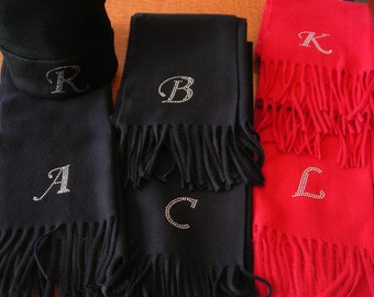 Initial Scarf Luxurious Cashmere Feel Long with Fringe