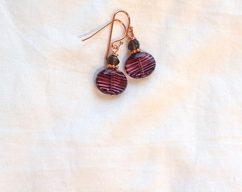 Stripled Purple Czech Glass and Faceted Smokey Quartz Earrings on Copper