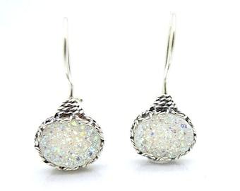 silver earrings with druzy agate oval shape Metalwork