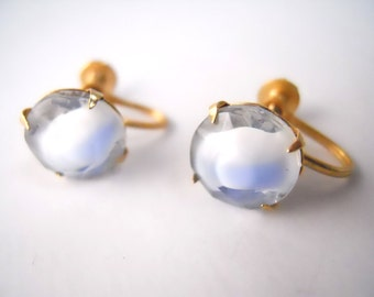 FROSTED BEVELED GLASS blue and white, screw back earrings, non-pierced ears