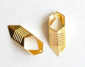 4 gold Geometric Chevron Pendants . 27mm x 10mm (GT3g) . Please read description
