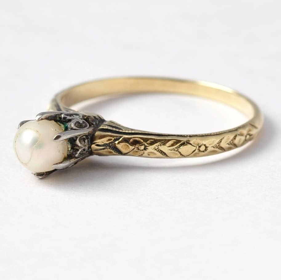 Pearl Wedding Ring: Pearl Engagement Rings Unique Antique Art Deco 14K & 18K Gold