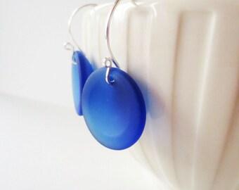 Beach glass earrings.  Cobalt blue beach glass.  Sea glass jewelry.  Sterling silver earrings.