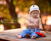Blue Fly Fishing Photo Prop Set, 0 to 3 month Baby Boy Costume