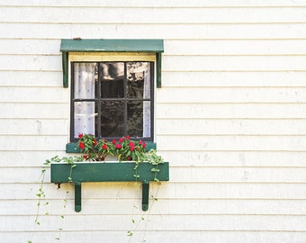 Rustic Photography, Window Photograph, Martha's Vineyard, Cottage Photograph, Minimal Modern Art, Green and White, Cottage Chic, Farmhouse