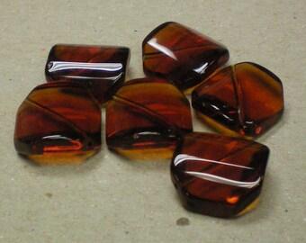 Beads Wavy Amber Glass