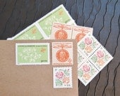 Giving .. Roses .. Vintage UNused Postage Stamps .. to post 5 letters