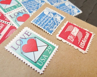 From my Heart .. UNused Vintage Postage Stamps  .. post 5 letters