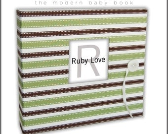 BABY BOOK | Green and Brown Stripe Album - Boy Baby Memory Book