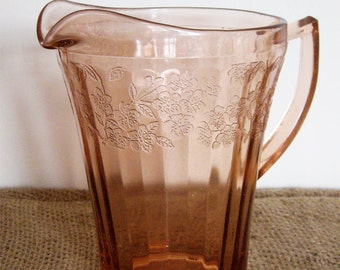 Jeannette - Pink Cherry Blossom Glass Pitcher - Depression Glass