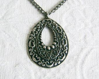 Large Dark Silver Teardrop Necklace