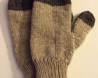 Beige & Grey Wool Mittens