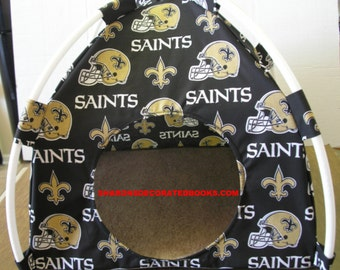 Large Handmade New Orleans Saints Pup Tent Pet Bed For Cats / Dogs / Ferrets / Piggies Or Used For A Toy Box / Barbie Doll House