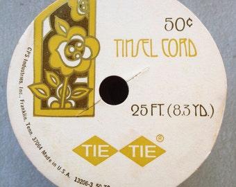 Vintage Tie Tie goldtone tinsel cord deadstock 25 foot spool