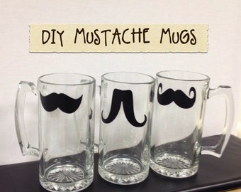 DIY Mustache Beer Mugs-Mustache Chalkboard Labels, Handmade Christmas Gifts, Wedding Favors, MOVEMBER MUSTACHES