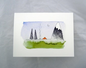 Greeting Card - Camping in the Mountains and Trees Greeting Card, blank inside card