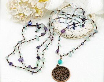 Boho Tree of Life long necklace - fluorite and quartzite