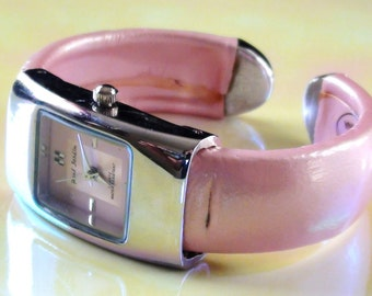 Cute Pink Cuff  Watch  Water Resistant  with New Battery Retired Design