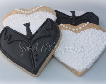 Custom Bride and Groom Cookies for Wedding, Rehearsal, Bridal Shower