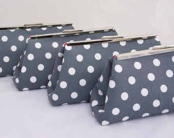 Bridesmaids Gift Custom Handbag in Dark Grey Silver Polka Dot Bridesmaids Gift Clutch for Wedding Party Gift or Bridal Party Accessory