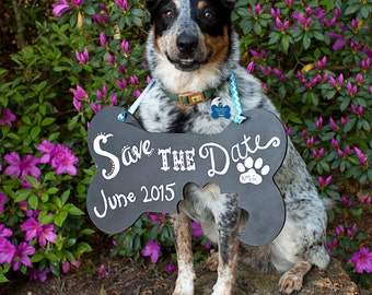 Small Save the date dog bone sign country wedding engagement photo prop puppy sign