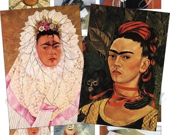 Frida Kalho images for cards, ACEO, ATC, scrapbook and more Digital Collage Sheet 3 X 2 inch No.748