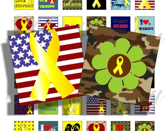 Yellow ribbon, Support our troops 1x1 inch for pendant, scrapbook and more Digital Collage Sheet No.1417